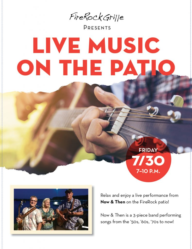 """Live Music on the Patio: July 30 with """"Now & Then"""""""